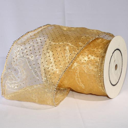 "Shimmering Gold Semi Sheer Brooklyn Wired Edge Craft Ribbon 6"" x 20 Yards - IMAGE 1"