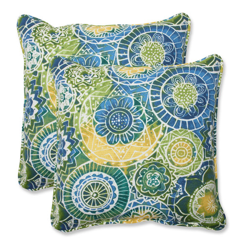 """Set of 2 Laguna Mosaico Blue, Green and Yellow Outdoor Corded Square Throw Pillows 18.5"""" - IMAGE 1"""