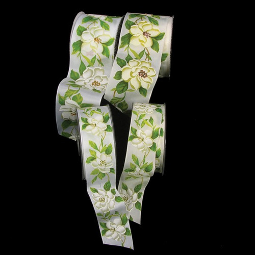"""Green and Ivory Woven Magnolia Print Wired Craft Ribbon 1.5"""" x 27 Yards - IMAGE 1"""