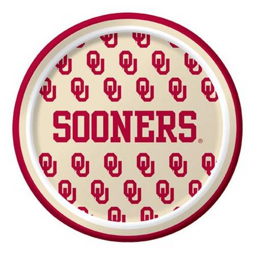 """Club Pack of 96 Red and White NCAA Oklahoma Sooners Disposable Party Luncheon Plates 7"""" - IMAGE 1"""