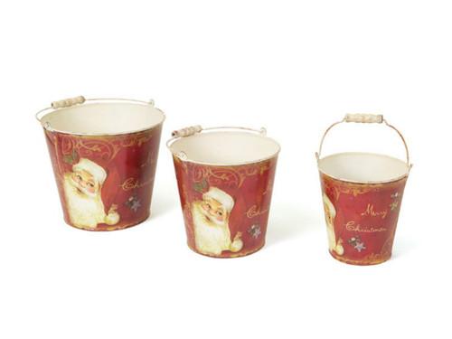 Set of 3 Retro Santa Claus Tall Vintage Style Decorative Christmas Buckets - IMAGE 1