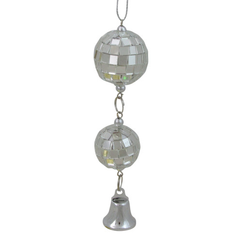 """4.5"""" Silver Mirror Disco Balls with Bell Christmas Ornament - IMAGE 1"""