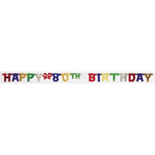 """Club Pack of 12 Vibrantly Colored Happy 80th Birthday Small Party Banners 75"""" - IMAGE 1"""