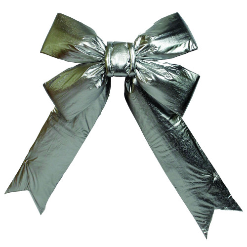"""18"""" x 23"""" Silver Lamé Indoor Commercial Christmas Bow - IMAGE 1"""