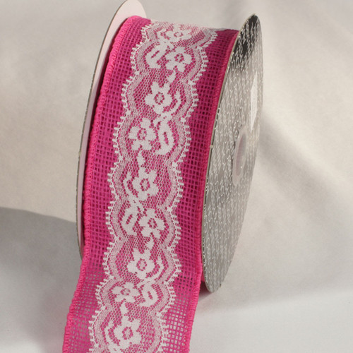"""Pink and White Floral Motif Lace Craft Ribbon 2.5"""" x 10 Yards - IMAGE 1"""