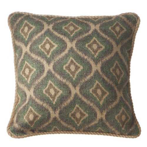 """18"""" Green and Gray Square Throw Pillow with Twisted Trim - IMAGE 1"""