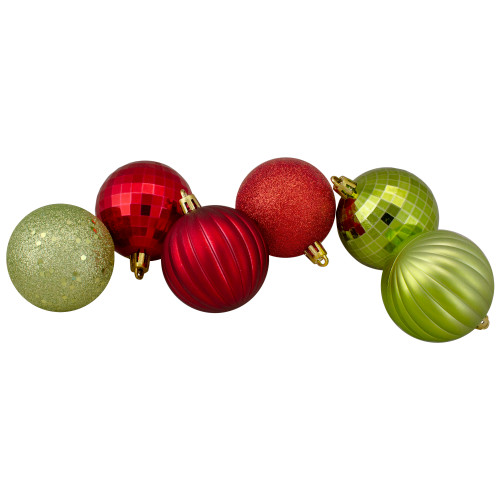 "100ct Red and Green Shatterproof 3-Finish Christmas Ball Ornaments 2.5"" (60mm) - IMAGE 1"
