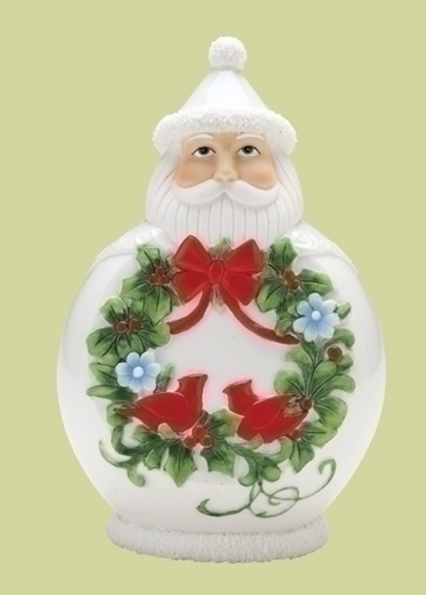 "7.5"" White and Green Scandinavian Santa Claus Christmas Figurine - IMAGE 1"