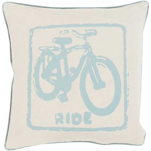 """20"""" Beige and Blue Contemporary Ride Square Throw Pillow - Down Filler - IMAGE 1"""