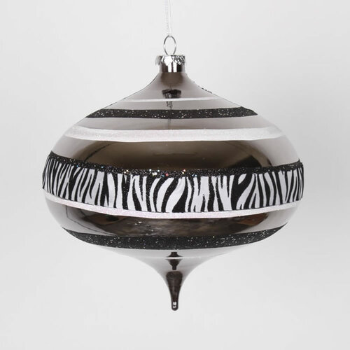 "Safari Black and White Zebra Stripes Onion Drop Christmas Ornament 8"" (200mm) - IMAGE 1"