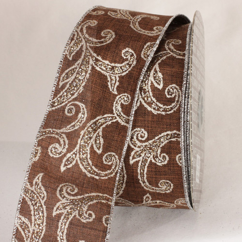 """Chocolate Brown and White Wired Craft Ribbon 2.5"""" x 20 yards - IMAGE 1"""