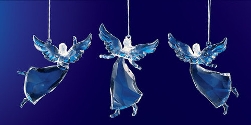 "Club Pack of 36 Blue Icy Crystal Religious Christmas Dancing Angel Ornaments 3.5"" - IMAGE 1"