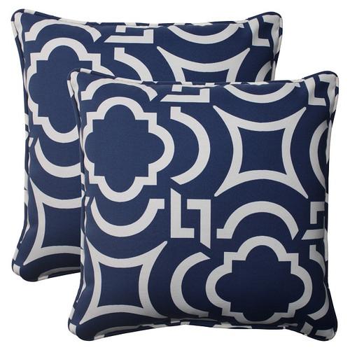 "Set of 2 Geometric Navy Blue Sky Outdoor Patio Square Throw Pillows 18.5"" - IMAGE 1"