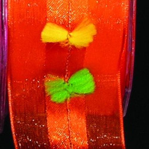 "Orange and Green Floral Wired Craft Ribbon 1.5"" x 27 Yards - IMAGE 1"