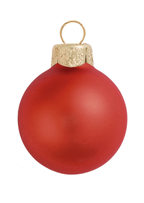 """28ct Fire Red Matte Glass Christmas Ball Ornaments 2"""" (50mm) - IMAGE 1"""