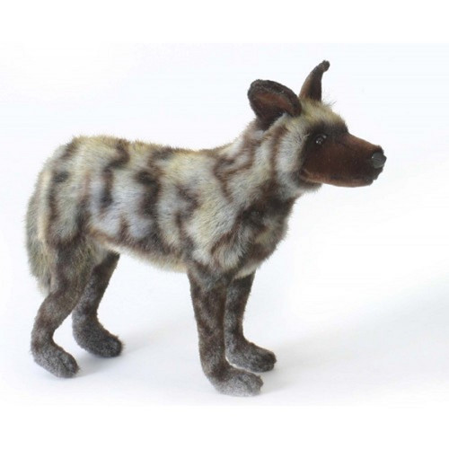 """Set of 2 Brown and Gray Handcrafted Soft Plush African Wild Dog Stuffed Animals 15.75"""" - IMAGE 1"""