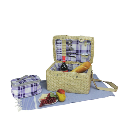 """11.75"""" Cream White Hand Woven 2-Person Picnic Basket Set with Accessories - IMAGE 1"""