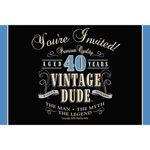 """Club Pack of 48 Black and Blue """"VINTAGE DUDE"""" Gatefold Party Invitations 6"""" - IMAGE 1"""