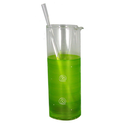 Green and White Contemporary Martini Pitcher with Stirring Rod 40 oz. - IMAGE 1