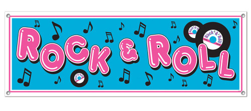 Club Pack of 12 Pink and Blue 'Rock and Roll' Sign Banners 5' - IMAGE 1