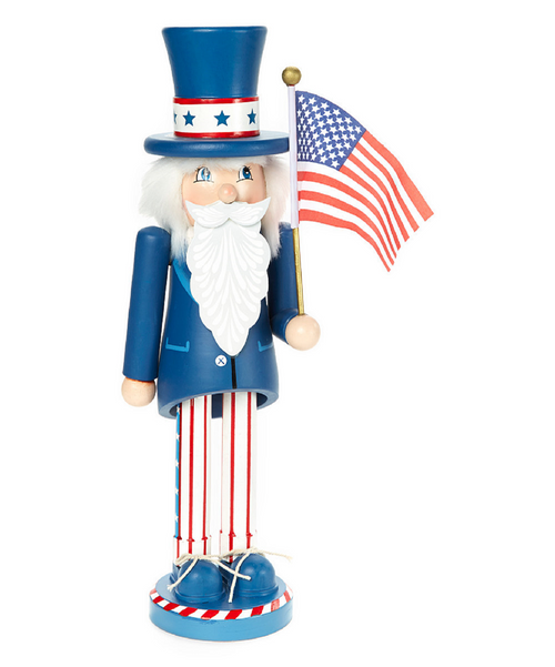 "11"" Blue and White Uncle Sam Christmas Nutcracker - IMAGE 1"