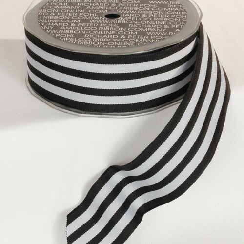 """Black and Gray Striped Wired Craft Ribbon 1.5"""" x 27 Yards - IMAGE 1"""