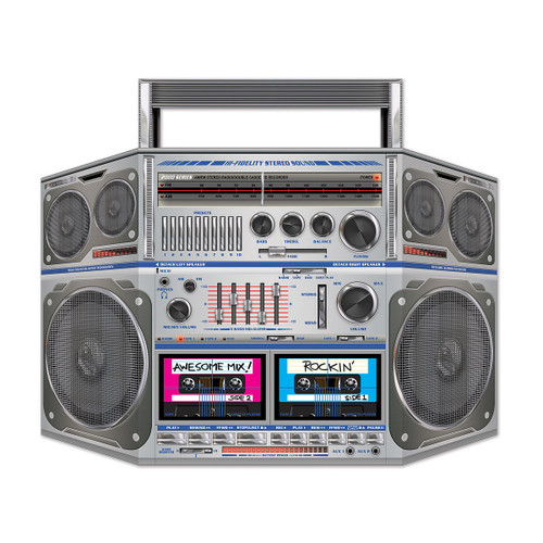 """Pack of 6 Gray and Blue 80's Cassette Player Boom Box Stand-Up Party Decors 37"""" - IMAGE 1"""