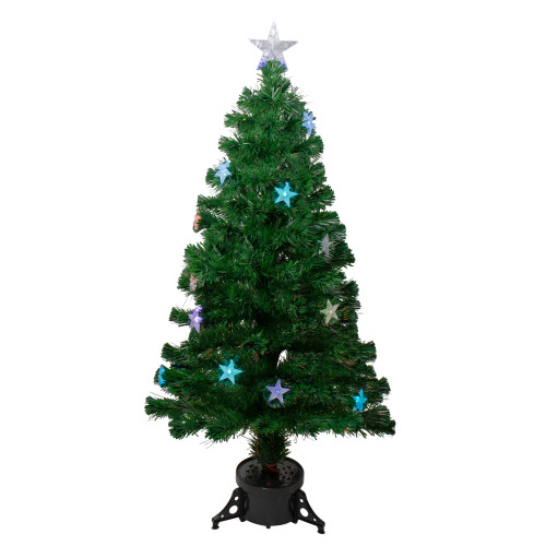 4' Pre-lit Potted Medium Pine Color Changing Star Artificial Christmas Tree - Multi-Color Fiber Optic LED Lights - IMAGE 1