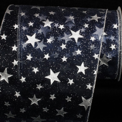 """Navy Blue and Silver Milky Way Wire Edged Craft Ribbon 6"""" x 20 Yards - IMAGE 1"""