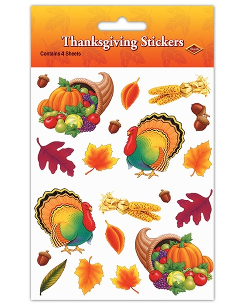 """Club Pack of 48 Fall Harvest Thanksgiving Sticker Sheets 7.5"""" - IMAGE 1"""