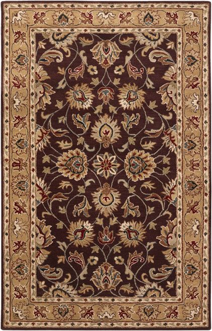 6' x 9' Green and Brown Contemporary Hand Tufted Floral Rectangular Wool Area Throw Rug - IMAGE 1