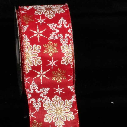 """Red and White Snowflake Wired Craft Ribbon 2.5"""" x 40 Yards - IMAGE 1"""