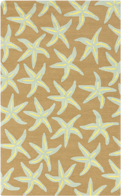 9' x 12' Starfish Delight Brown and Teal Blue Hand Hooked Outdoor Area Throw Rug - IMAGE 1