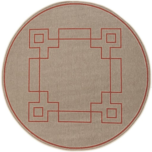 8.75' Mosaic Medley Desert Brown and Red Contemporary Machine Woven Round Outdoor Area Throw Rug - IMAGE 1