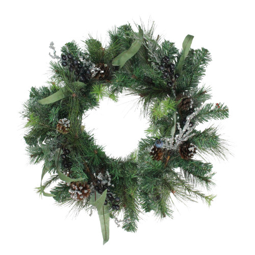Mixed Pine with Blueberries Pine Cones and Ice Twigs Artificial Christmas Wreath - 24-Inch, Unlit - IMAGE 1