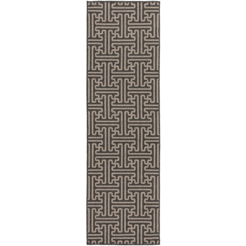 2.25' x 7.75' Gray and Brown Rectangular Shed-Free Area Throw Rug Runner - IMAGE 1