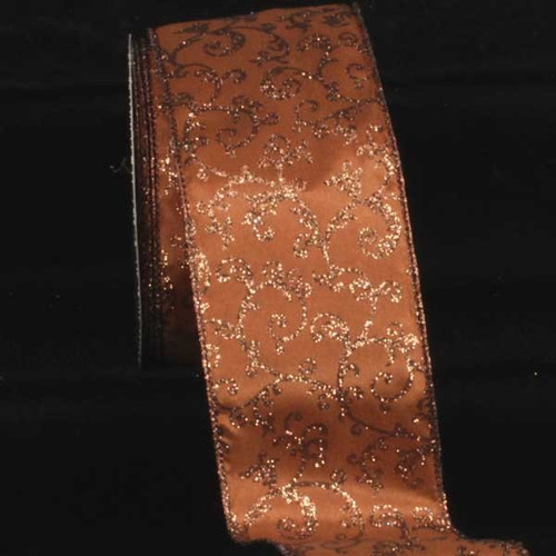 "Brown and Gold Filigree Printed Wired Craft Ribbon 3"" x 20 Yards - IMAGE 1"