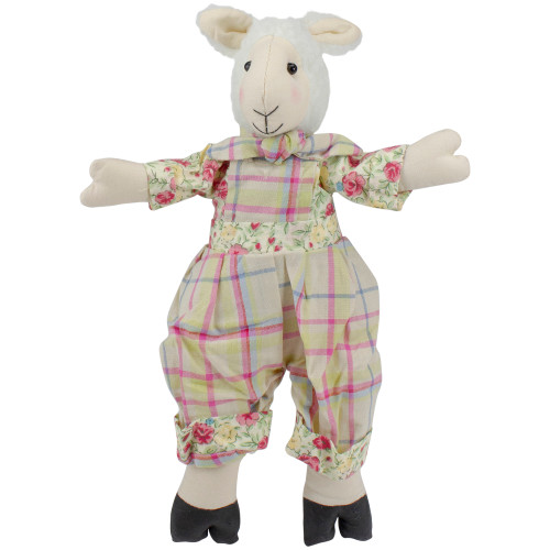 """11"""" Cream, Pink and Green """"Liam"""" the Lamb Boy Sitting Spring Figure - IMAGE 1"""