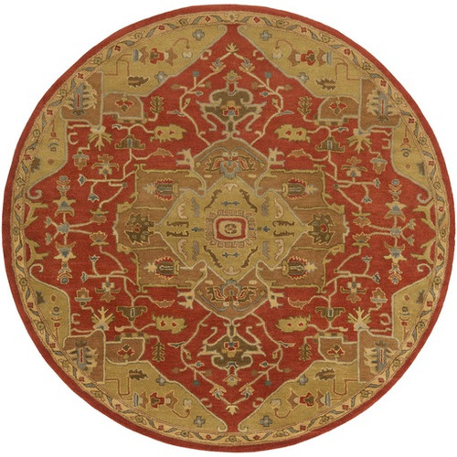 8' Elegant Caesar Red and Brown Hand Tufted Round Wool Area Throw Rug - IMAGE 1