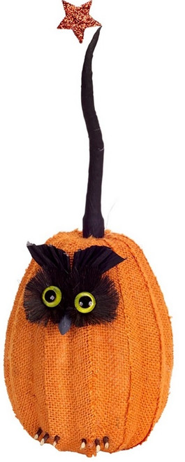 "15.5"" Orange and Black Owl Pumpkin with Star Tabletop Decor - IMAGE 1"