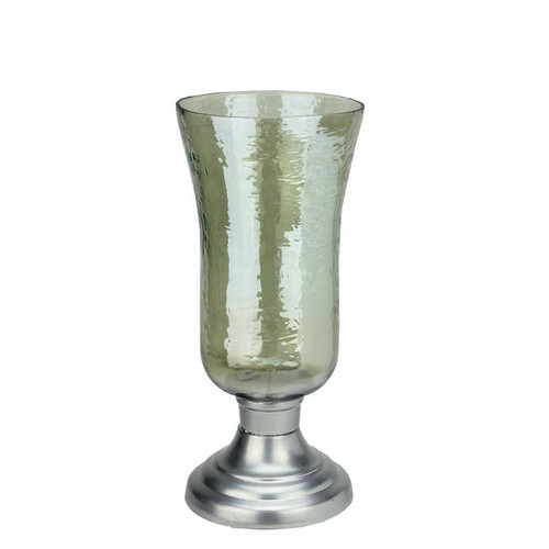 """15.5"""" Decorative Golden Luster Hurricane Pillar Candle Holder with Silver Base - IMAGE 1"""