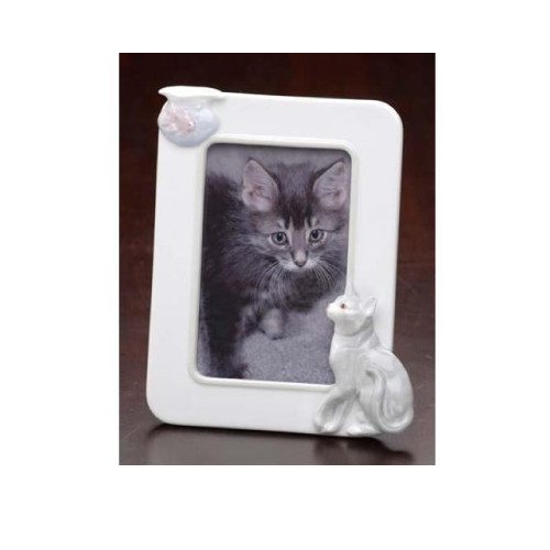 """Club Pack of 12 White Cat and Fish Tabletop Rectangular Photo Frames 7.75"""" - IMAGE 1"""