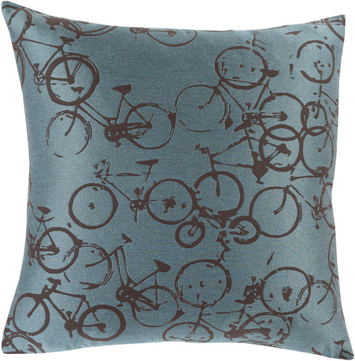 """18"""" Blue and Black Cycles Printed Decorative Throw Pillow - IMAGE 1"""