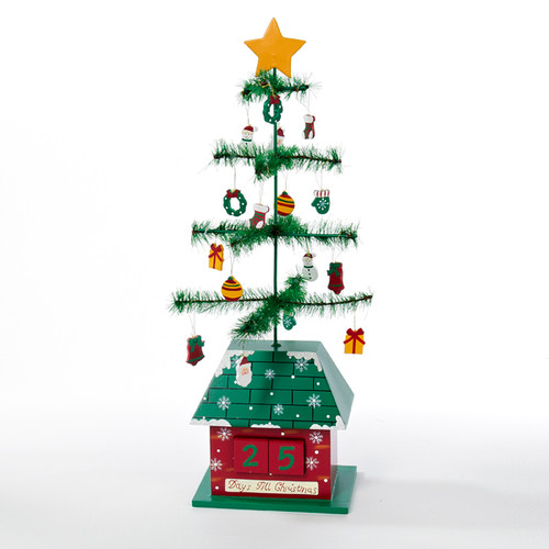 """17"""" Green and Red Christmas Tree with Ornaments Days till Christmas Calendar - IMAGE 1"""