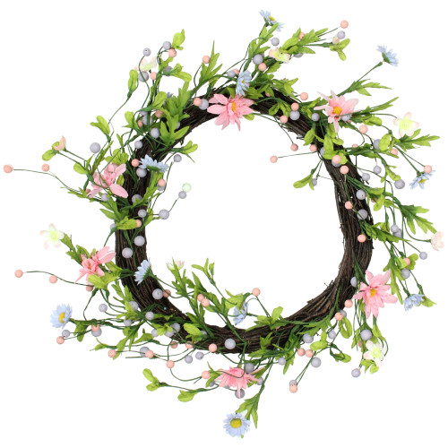 Daisy Twig Artificial Floral Wreath, Green and Pink 15-Inch - IMAGE 1