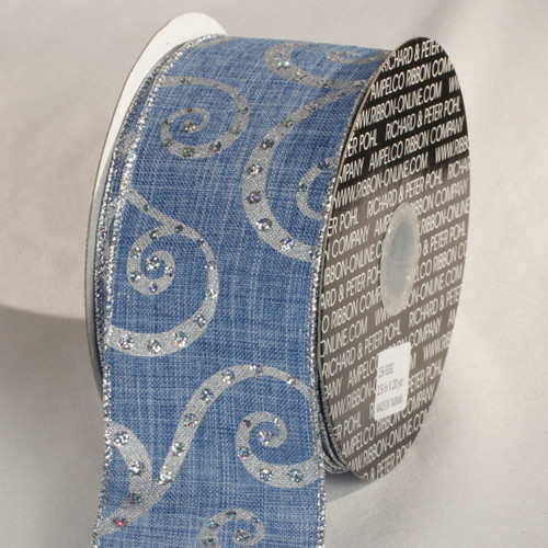 """Silver and Blue Swirl Motif Wired Craft Ribbon 2.5"""" x 20 Yards - IMAGE 1"""