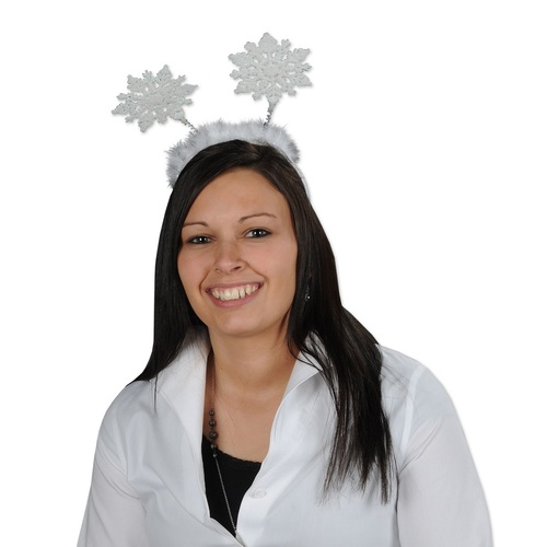 Club Pack of 12 Snowflake Unisex Adult Christmas Bopper Headband Costume Accessories - One Size - IMAGE 1