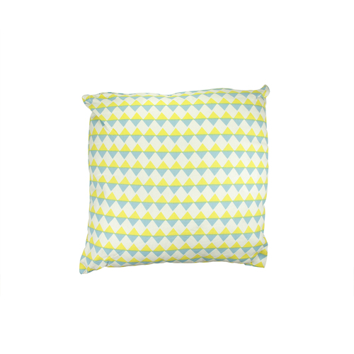 "15.75"" Blue and Yellow Diamond Motif Square Throw Pillow - IMAGE 1"