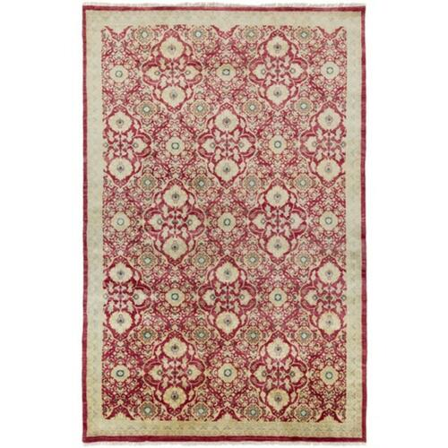 9' x 13' Royal Garden Cherry Red and Sandy Beige Area Throw Rug - IMAGE 1