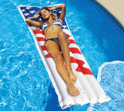 72-Inch Inflatable White and Red American Flag Swimming Pool Air Mattress - IMAGE 1